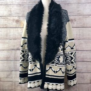 MINKPINK Aztec-print Faux Fur-Trimmed Cardigan